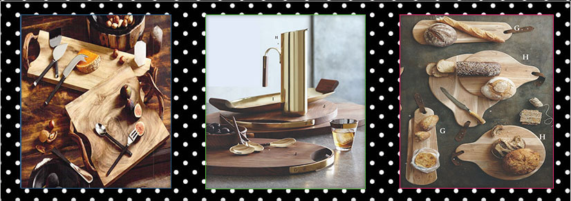 A cheese knife and board set in a variety of shapes and sizes over three images